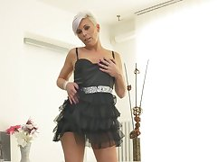 Of age amateur short haired blonde Kathy White strips and masturbates