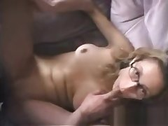 Milf in glasses gets her holes filled with throbbing cock