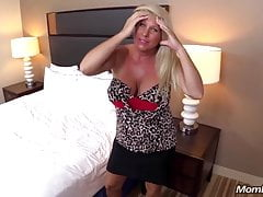 Huge Boobs Blonde MILF fucks young cock POV