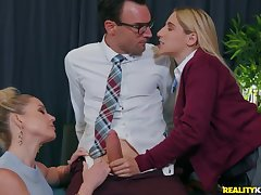 Teacher coupled with student suck on high a big dig up together
