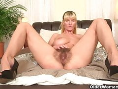 Soccer moms with big tits and hairy pussy masturbate