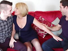 Mature mother fucked by two young sons