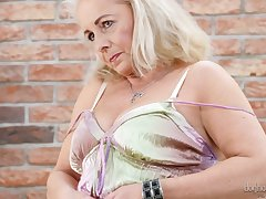 Slutty granny Victoria Hope shows her plump stretched pussy and big saggy boobies