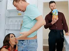 Wife's beamy tits seduced nanny to fuck hardcore
