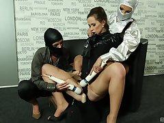 Lesbian milfs in rough scenes of latex femdom