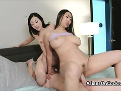 Big cock threesome upon horny Asian hotties