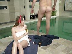 Senior old dude enjoys fucking charming teen Julia Red by hammer away poolside