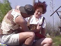 hairy 75 years old mom alfresco fucked