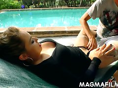 Busty rich MILF is ready for some wild clamminess be captivated by outdoors