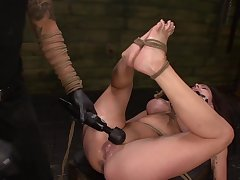 Throating womanlike slave treated by her master with brutality