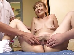 A amazing threesome Japanese play with a XXX granny