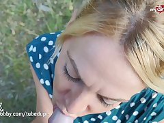 MyDirtyHobby - German MILF blows counterpart and creampied outdoors
