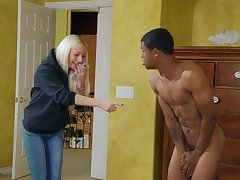Skinny ebony guy Lil D fucked Aubrey Black on the bed