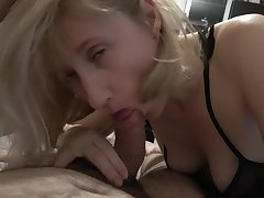 Blonde GILF gagging on my huge penis