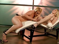 Lesbian fun not susceptible the chair with Samantha Ryan and Sabrina Rose