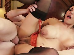 Raylene swallows after having the whole dick drilling her hard