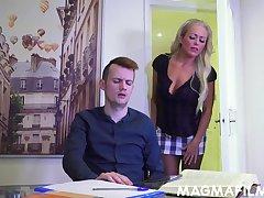 A uncompromisingly substandard MILF tutor Rebecca Smyth fucks her horny pupil
