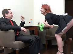 Redhead maid Anna Jelinkova fucked from behind off out of one's mind the home owner