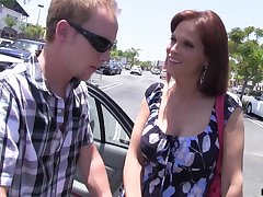 Lonely housewife Syren De Mer bangs twosome dude who helped her in the parking lot