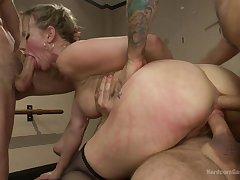 A lot of horny dudes VS one hot tow-headed pornstar Simone Sonay