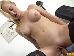 Blonde woman rides hard and pushes the hop of the man's locate