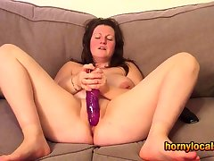 Be in charge MILF Carrying-on with her Purple Dildo