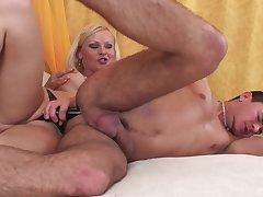 Blonde floss ass fucks her man then licks his sperm off