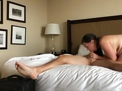Sexy wife with hot body pleasing the brush new big gun for promotion