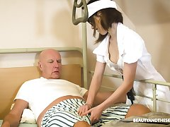Teen nurse in glasses Adelle Sabelle gives a wonderful blowjob to retiree