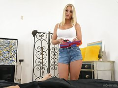 Hot stepmom Rachael Cavalli gives a great blowjob on POV camera