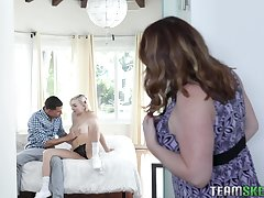 Stepmom walks less on her stepdaughter having carnal knowledge with her horny boyfriend