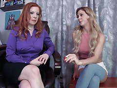 FFM threesome in the office nearly Lady Fyre and Cherie Deville