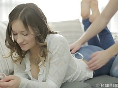 Sensual love making on the bed with Russian teen Adell and her pauper