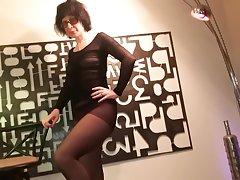 Pantyhose miniskirt and heels