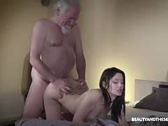 Old grey bearded gets woken up relating to sex and what a sexy mistress he's got