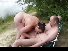 German amateur wife sucks two fat dicks at a picnic