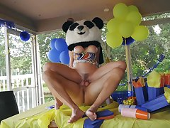 Party MILF gets the huge Panda bear's locate inside her ass