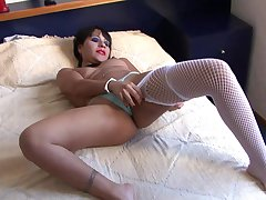 Cock hungry Latina slut gets her mouth and pussy poked far toys