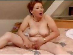 Very meaningless granny masturbation and wild orgasm