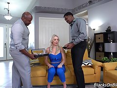 Pitch-black dudes fucks horny wife in such a in the same manner that she reaches multiple orgasms
