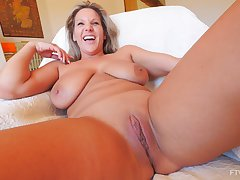 Solo closeup video of horny full-grown Meegan playing with a large dildo