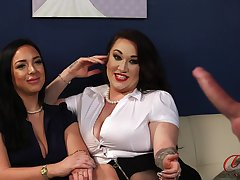 Handsome dude with a stiff cock teases Amelia Brookes and Bex Shiner