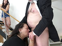 Old scrounger gets his dick sucked by Karolina Kovacova with the addition of Monika Spilova