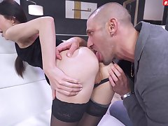 Insane anal for the thin lady after she throats a little