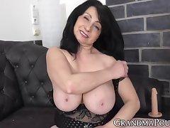 Big Tits Kinky Granny Plays With Dildo