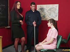 Hot female tutor gets working with cock alongside a shy student