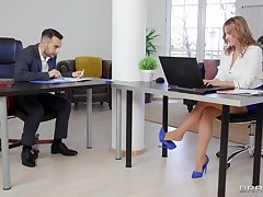 It's the first grow older for this office babe when she gets laid with duo for the co-workers