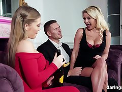 Bottomless gulf mom-daughter couch porn leads both babes to crazy orgasms