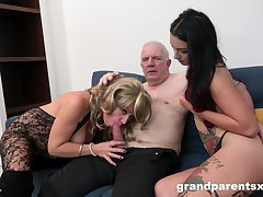 Grandpa fucks his niece and his get hitched adjacent to a glorious amateur threesome