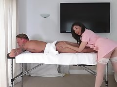 Brunette masseuse leaves along to horny client dear one her in a few naughty rounds